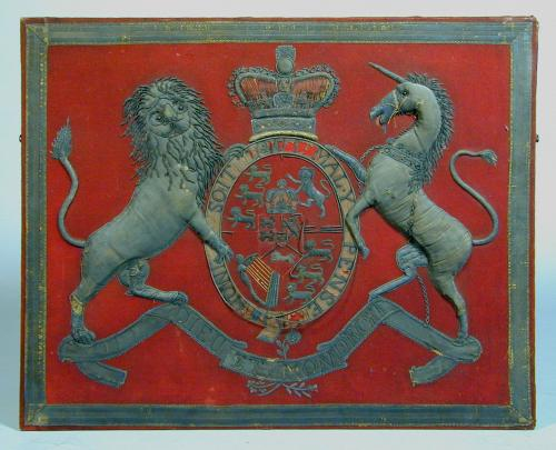 An interesting Regency felt and metal thread armorial, c.1810