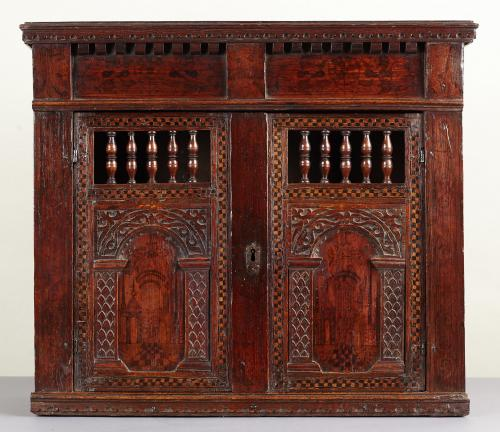 Elizabethan Painted Wall / Glass Cupboard
