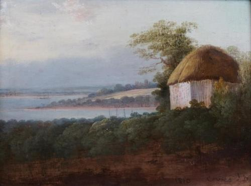 """""""View of West Cowes Isle of Wight Painted by Calcott about 1790""""."""