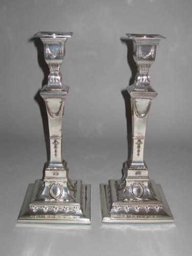 PAIR OLD SHEFFIELD PLATE SILVER CANDLESTICKS. CIRCA 1780