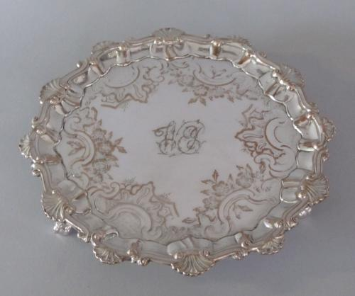 SMALL OLD SHEFFIELD PLATE SILVER WAITER