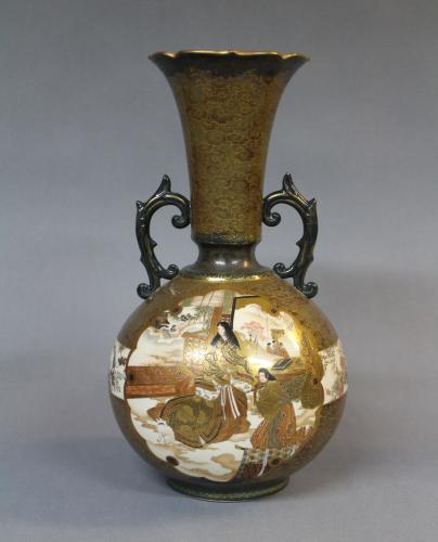 A 19th century Japanese flared topped Satsuma gourd shaped vase