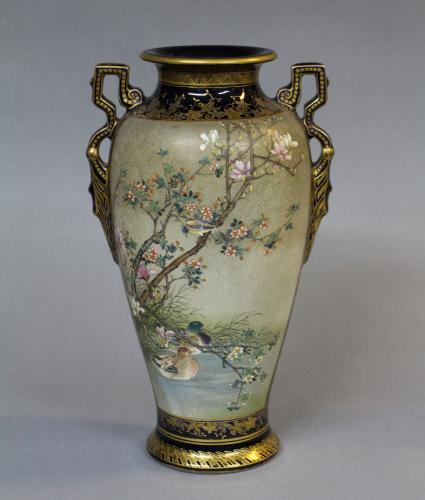 A 19th century Japanese  blue ground satsuma vase with ears