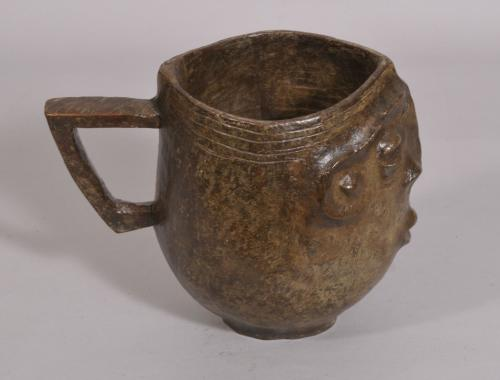 S/2345 Antique Tribal Carved Wooden Mask Jug