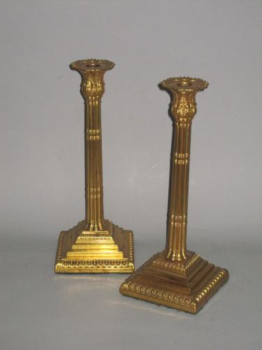 RARE MERCURIAL GILDED OLD SHEFFIELD PLATE CANDLESTICKS. BY JOHN HOYLAND & CO