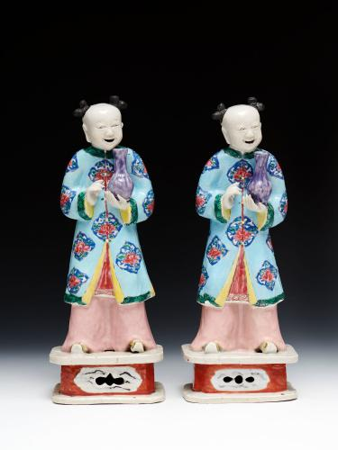 Two Chinese Export Figures of Standing Boys, c. 1770 Qianlong Reign, Qing Dynasty