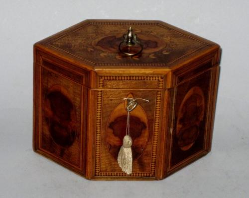 SATINWOOD MARQUETRY TEA CADDY, CIRCA 1785