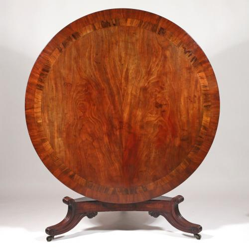 William IV Mahogany Round Dining Table - top.