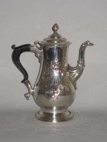 Old Sheffield Plate silver coffee pot, circa 1765 by Richard Morton
