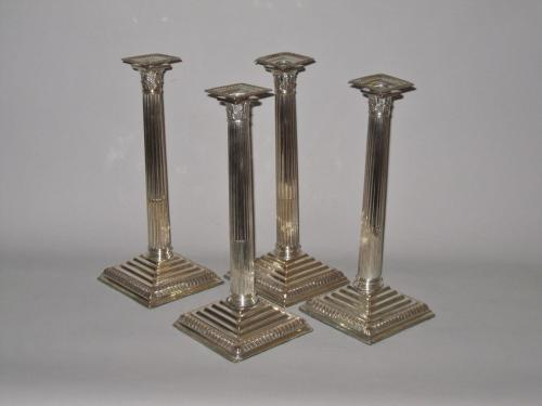 Set of four old Sheffield plate silver candlesticks. Circa 1765