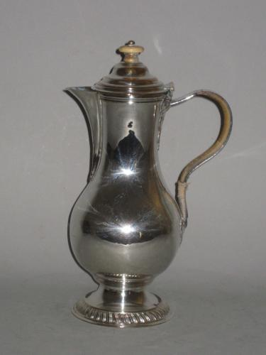 Old Sheffield plate silver hot water jug by Henry Tudor & Co.