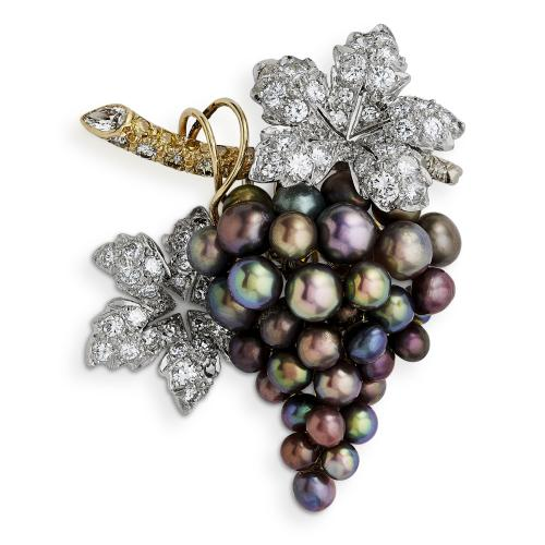 Diamond and Tahitian pearl Bunch of Grapes Brooch by Carvin French
