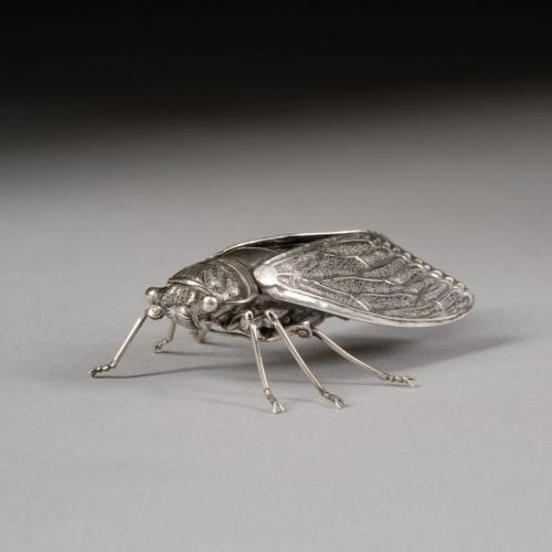 Japanese silver Jizai okimono of an articulated cicada, signed Muneyoshi, Meiji Period