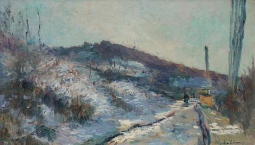 ALBERT-CHARLES LEBOURG 1849-1928 Route de village, Hondouville-sur-Iton Oil on canvas, signed
