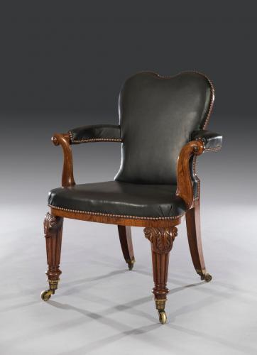 Rare Export 19th Century Anglo-Indian Carved Rosewood Desk Chair Sri Lankan Circa 1840