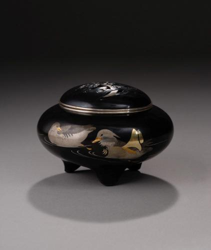 Japanese shakudo and silver Koro decorated with mandarin ducks, signed Jomi sei, Meiji Period (1868-1912)