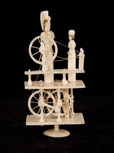 "A Prisoner - of - war carved bone ""Spinning Jenny"" automaton"