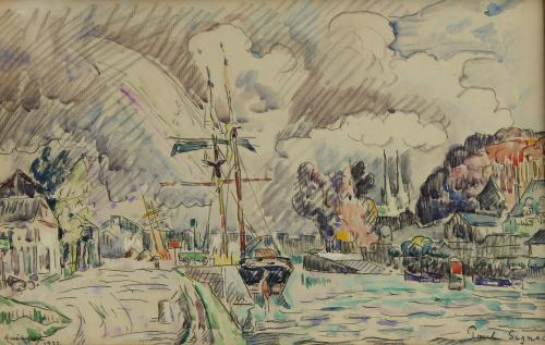 PAUL SIGNAC  1863 - 1935 Quimper Watercolour, gouache and black chalk signed & dated 1922