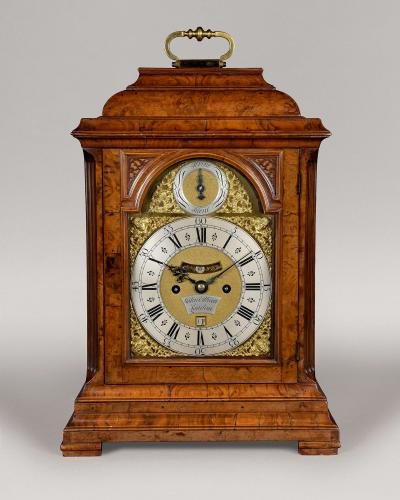 An Exceptional 8 Day Burr Walnut Hour Strike Table Clock, John Ellicott, London Circa 1760