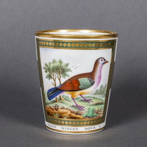 A Rare Chamberlain's Worcester Porcelain Beaker decorated with a Green Winged Dove probably by James Rogers, Circa 1810