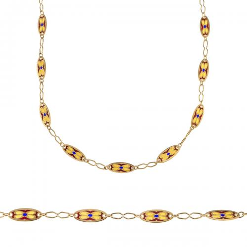 Lovely 18 carat chain with plique a jour links