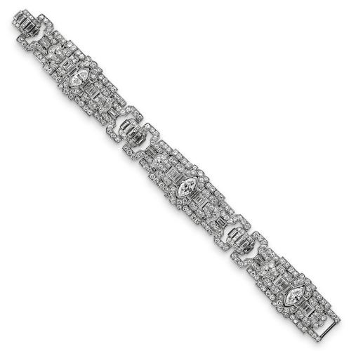 Art Deco brilliant, marquise & baguette cut diamond bracelet