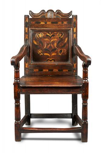 Mid 17th Century Inlaid Oak Armchair, English, Circa 1640-50