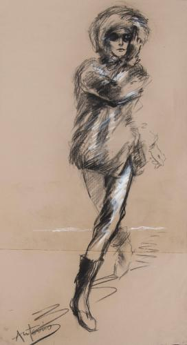 Antonio Lopez (1943-1987)  New York Times II 1963 Charcoal on Paper Signed