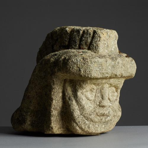 Late Romano British / Early Middle Ages Limestone Head of a Legionnaire