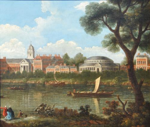 JOSEPH NICHOLLS  Fl. 1726 - 1755   English School   A View of the Rotunda and the Royal Hospital, Ranelagh Gardens from the sout