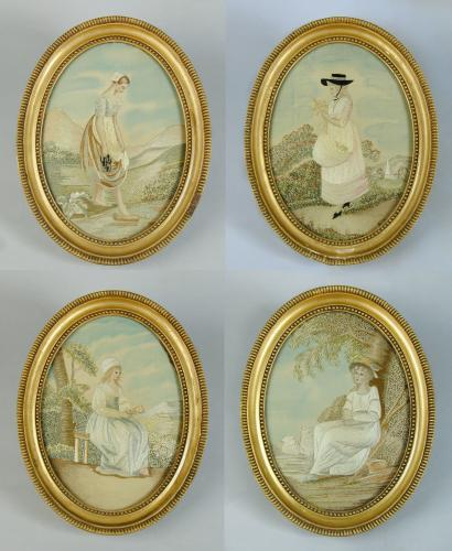 A set of four Georgian silkwork oval pictures of young girls, after eighteenth-century engravings, c.1810