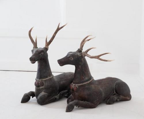 A Pair of Late 19th Century Carved and Painted Deer with Antlers