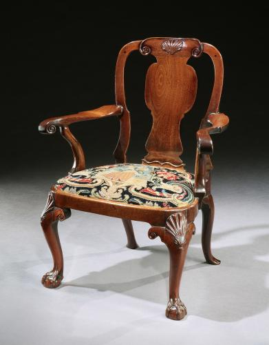 A George III Mahogany Armchair with Needlework