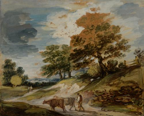 Gainsborough Dupont (1754-1797)  A landscape with a herdsman and cows  Oil on varnished laid paper with traces of pencil