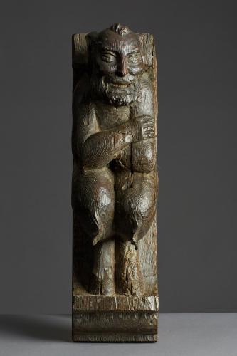 Late 15th / Early 16th Century Oak Corbel Bracket of a Satyr