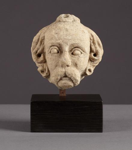 Small Mid to Late 15th Century Limestone Male Head