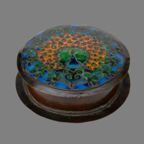 Boston School arts and crafts peacock enamel box