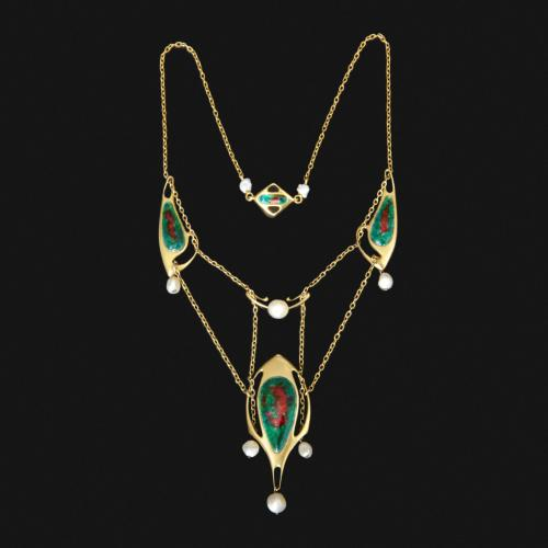 An outstanding Archibald Knox gold and enamel necklace
