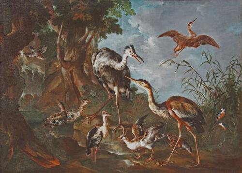 GIOVANNI CRIVELLI called Il CRIVELLINO c.1690 - 1760 Italian School  Herons, ducks and kingfishers by a stream in a wooded lands