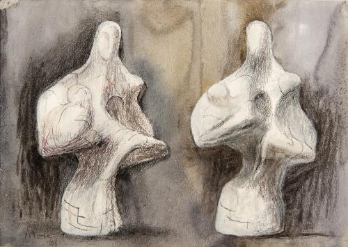 Henry Moore OM, CH, FBA  British 1898-1986  TWO VIEWS OF MOTHER AND CHILD SCULPTURE