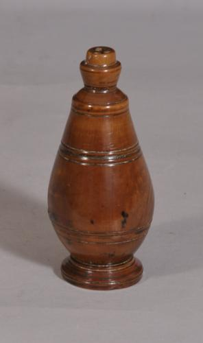 S/3266 Antique Treen Georgian Conical Fruitwood Salt, Pepper or Spice Shaker