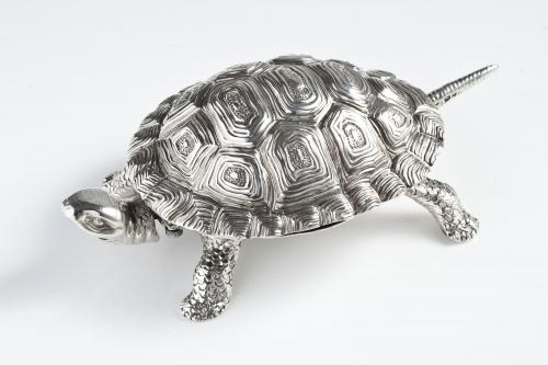 A Novelty Tortoise Silver Bell by Jospeh Braham, 1897
