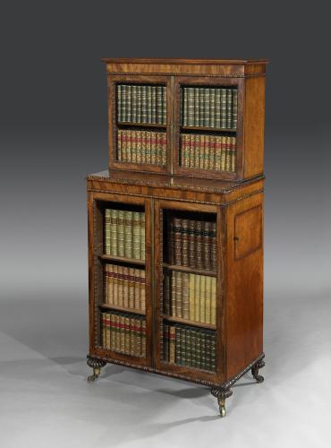 Late Regency George IV Period Mahogany Dwarf Bookcase Display Cabinet English Circa 1826