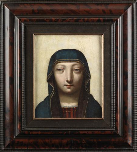 A young woman with strabismus attired as the Virgin Mary  Oil on copper  Continental School  Circa: 1600