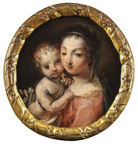 The Madonna and Child Oil on panel In a bespoke gilt-gesso frame Italian School Circa: 1700
