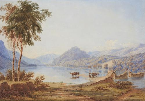 The Lower portion of Thirlmere, Cumberland - Evening, by William Turner of Oxford (1789-1862)