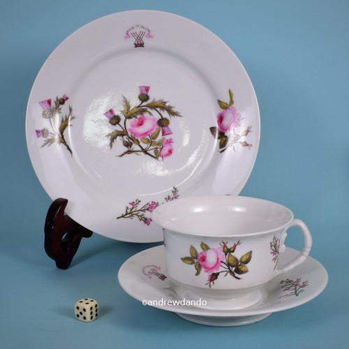 Worcester Porcelain 'Wedding Breakfast Trio' with Scott family crest, c1820