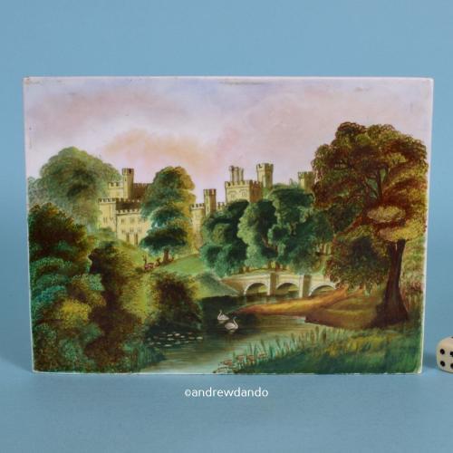 English Porcelain Plaque, Warwick Castle, c1850.