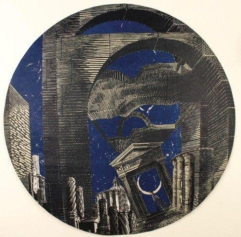 In Search of New Worlds 2018 Linocut and wood engraving prints collaged on paper under convex glass 33 cm diameter Unique piece