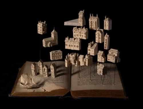 Cutters and Smugglers - Su Blackwell book cut sculpture in wooden box, with lights